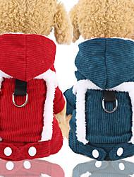 baratos -Cachorros Casacos Camisola com Capuz Inverno Roupas para Cães Verde Vermelho Ocasiões Especiais Veludo Cotelê Retalhos Fantasias XS S M L XL XXL