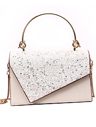 cheap -Women's Sequin / Chain Polyester / PU Top Handle Bag Solid Color Black / White