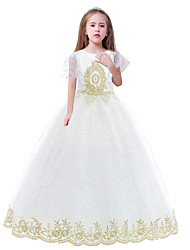 cheap -Princess Dress Masquerade Flower Girl Dress Girls' Movie Cosplay A-Line Slip Cosplay Vacation Dress White Dress Halloween Carnival Masquerade Tulle Polyster
