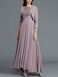 cheap -A-Line / Two Piece Bateau Neck Floor Length Chiffon / Lace 3/4 Length Sleeve Wrap Included Mother of the Bride Dress with Beading / Sash / Ribbon / Ruching 2020