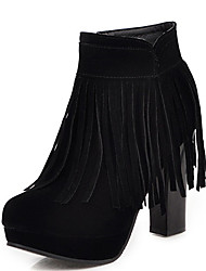 cheap -Women's Boots Chunky Heel Round Toe Tassel Synthetics Fall & Winter Black / Beige