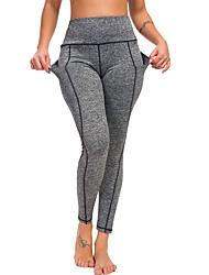 abordables -Femme Taille haute Pantalon de yoga Hiver Poche Noir Grise Course / Running Fitness Entraînement de gym Collants Leggings Sport Tenues de Sport Butt Lift Contrôle du Ventre Power Flex Haute élasticité