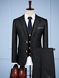 cheap -Black vintage jacquard Custom Suit