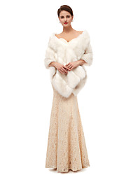 cheap -Sleeveless Capes Faux Fur Wedding Women's Wrap With Solid