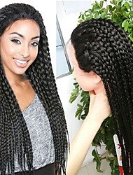 cheap -20-32inch Black Braided Wig Lace Frontal Micro Synthetic Box Braids Wigs Heat Resistant Fiber Long Synthetic Wigs Braid Hairstyles For Black Women