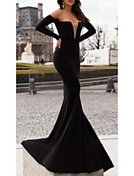 cheap -Mermaid / Trumpet Sweetheart Neckline Floor Length Stretch Satin Elegant Formal Evening Dress with Pleats 2020
