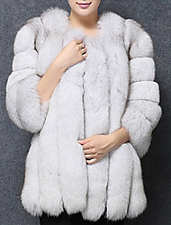 cheap -Women's Daily Regular Fur Coat, Solid Colored Collarless Long Sleeve Faux Fur Black / Wine / White