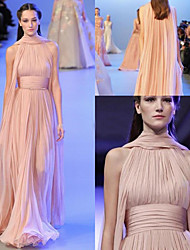 cheap -A-Line Halter Neck Sweep / Brush Train Chiffon Empire / Pink Engagement / Formal Evening Dress with Pleats / Ruched 2020