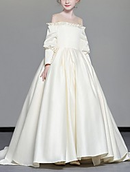 cheap -Ball Gown Sweep / Brush Train Pageant Flower Girl Dresses - Polyester Long Sleeve Jewel Neck with Cascading Ruffles