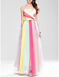 cheap -A-Line Spaghetti Strap Floor Length Tulle Bridesmaid Dress with Pleats