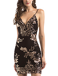 cheap -Women's A Line Dress White Black Purple Khaki Gold Sleeveless Solid Colored Backless Sequins Cut Out Strap Elegant Streetwear S M L XL
