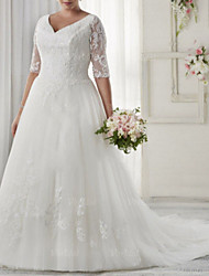 cheap -A-Line V Neck Sweep / Brush Train Tulle Half Sleeve Illusion Sleeve Wedding Dresses with Appliques 2020