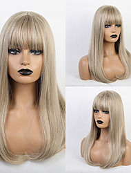 cheap -Synthetic Wig Bangs Straight Natural Straight Side Part Neat Bang With Bangs Wig Long Light golden Synthetic Hair 20 inch Women's Cosplay Classic Women Blonde HAIR CUBE