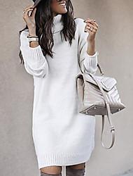 cheap -Women's Shift Dress - Long Sleeve Solid Colored Turtleneck Casual White Blue Yellow Blushing Pink Khaki Gray S M L XL XXL XXXL