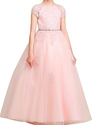 cheap -A-Line Floor Length Flower Girl Dress - Polyester Short Sleeve Jewel Neck with Lace