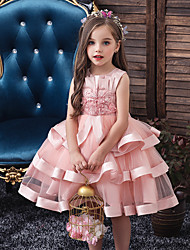 cheap -Kids Toddler Girls' Sweet Solid Colored Christmas Lace Beaded Bow Sleeveless Knee-length Dress Blushing Pink