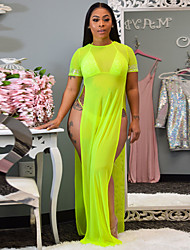 cheap -Women's Maxi Fuchsia Green Dress Sophisticated Party / Cocktail Bar A Line Solid Colored Split S M Slim