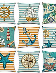 Недорогие -9 шт. Льняная наволочка, геометрическая морская повседневная средиземноморская декоративная подушка