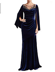 cheap -Sheath / Column Jewel Neck Sweep / Brush Train Velvet Elegant Formal Evening Dress with Appliques / Ruched 2020