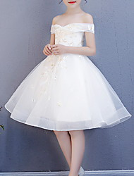cheap -Princess Knee Length First Communion Flower Girl Dresses - Polyester Cap Sleeve Off Shoulder with Embroidery