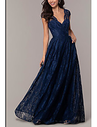 cheap -A-Line Plunging Neck Floor Length Satin Elegant Formal Evening Dress with Lace Insert 2020