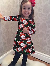 cheap -Kids Girls' Geometric Christmas Dress Black