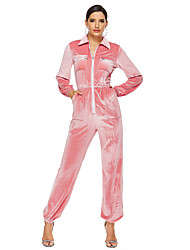 cheap -Women's Basic Blushing Pink Gray Jumpsuit Onesie, Solid Colored Patchwork S M L