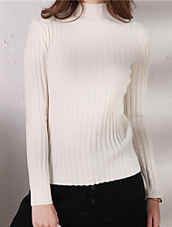 cheap -Women's Solid Colored Long Sleeve Pullover Sweater Jumper, Turtleneck Black / White / Brown One-Size