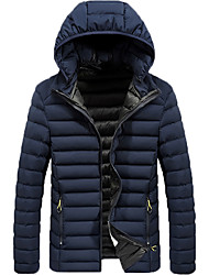 cheap -Men's Daily / Work Winter Regular Coat, Solid Colored Hooded Long Sleeve Polyester Black / Light gray / Blue