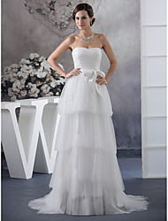 cheap -A-Line Wedding Dresses Strapless Sweep / Brush Train Satin Tulle Strapless with Sashes / Ribbons Ruched Cascading Ruffles 2020