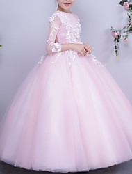 cheap -Ball Gown Floor Length Flower Girl Dress - Polyester 3/4 Length Sleeve Jewel Neck with Appliques