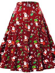 cheap -Women's Christmas Swing Skirts - Geometric Print Red Green S M L