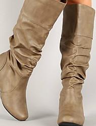 cheap -Women's Boots Flat Heel Round Toe PU Mid-Calf Boots Winter Black / Brown / Gray