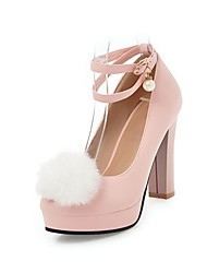 cheap -Women's Heels Chunky Heel Round Toe Imitation Pearl / Pom-pom Faux Leather Casual / Sweet Walking Shoes Fall / Spring & Summer Black / White / Pink / Party & Evening