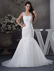 cheap -Mermaid / Trumpet Wedding Dresses Scoop Neck Chapel Train Lace Tulle Regular Straps with Beading Appliques 2020