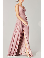 cheap -A-Line Plunging Neck Floor Length Satin Bridesmaid Dress with Sash / Ribbon / Split Front / Open Back