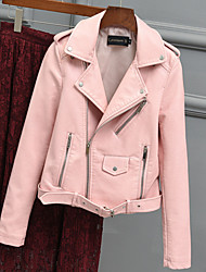 cheap -Women's Daily Fall & Winter Regular Leather Jacket, Solid Colored Shirt Collar Long Sleeve PU Blushing Pink