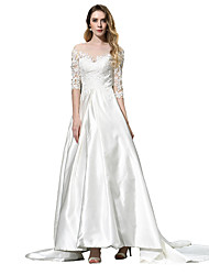 cheap -A-Line Off Shoulder Chapel Train Chiffon Over Satin 3/4 Length Sleeve Made-To-Measure Wedding Dresses with Beading / Appliques 2020