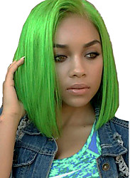 cheap -Unprocessed Virgin Hair 13x6 Closure Lace Front Wig Bob Middle Part Deep Parting style Brazilian Hair Peruvian Hair Straight Green Wig 150% Density Best Quality Hot Sale 100% Virgin Comfy Coloring