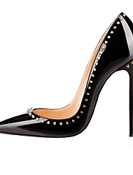 cheap -Women's Heels Stiletto Heel Pointed Toe Rivet Faux Leather Casual / Minimalism Walking Shoes Fall / Spring & Summer Black / Almond / Party & Evening