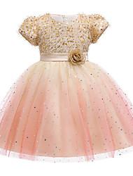 cheap -Kids Girls' Cute Jacquard Sequins Bow Mesh Short Sleeve Knee-length Dress Wine