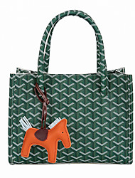 cheap -Women's Tassel PU Top Handle Bag Striped Black / Brown / White