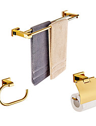 cheap -Solid Brass 3 Piece - Towel bar /Toilet Paper Holders / Towel Rings Gold Plated Brass