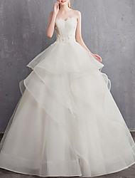 cheap -A-Line Sweetheart Neckline Floor Length Tulle Regular Straps Made-To-Measure Wedding Dresses with Appliques 2020