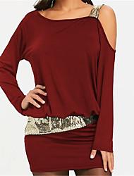 cheap -Women's Mini Sheath Dress - Long Sleeve Solid Colored One Shoulder Basic Wine Black Purple S M L XL XXL
