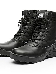 cheap -Men's Combat Boots Synthetics Fall & Winter Boots Hiking Shoes Mid-Calf Boots Black / Beige