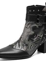 cheap -Men's Fashion Boots Nappa Leather Spring & Summer / Fall & Winter Classic / Vintage Boots Warm Mid-Calf Boots Gray / Party & Evening