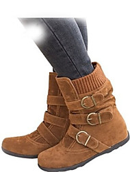 cheap -Women's Boots Flat Heel Round Toe Suede Booties / Ankle Boots Winter Black / Brown / Red