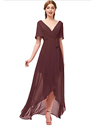 cheap -A-Line Plunging Neck Asymmetrical Chiffon Bridesmaid Dress with Bow(s) / Ruching