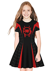 cheap -Kids Girls' Active Sweet Patchwork Short Sleeve Above Knee Dress Black